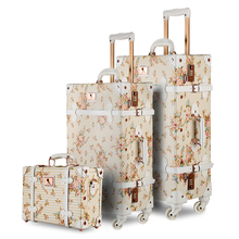 "3PC/SET Light-weight Classic Print three Piece Baggage Set 20″ 26″ & 13"" beauty case WomenTravel Baggage Suitcase With Spinner Wheels"