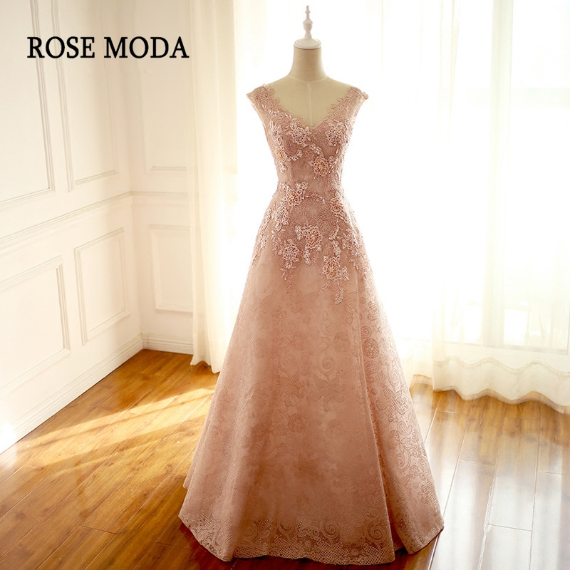 Rose Moda Sexy Long V Neck Prom Dress Delicate Beaded Pink Lace Prom Dresses 2018