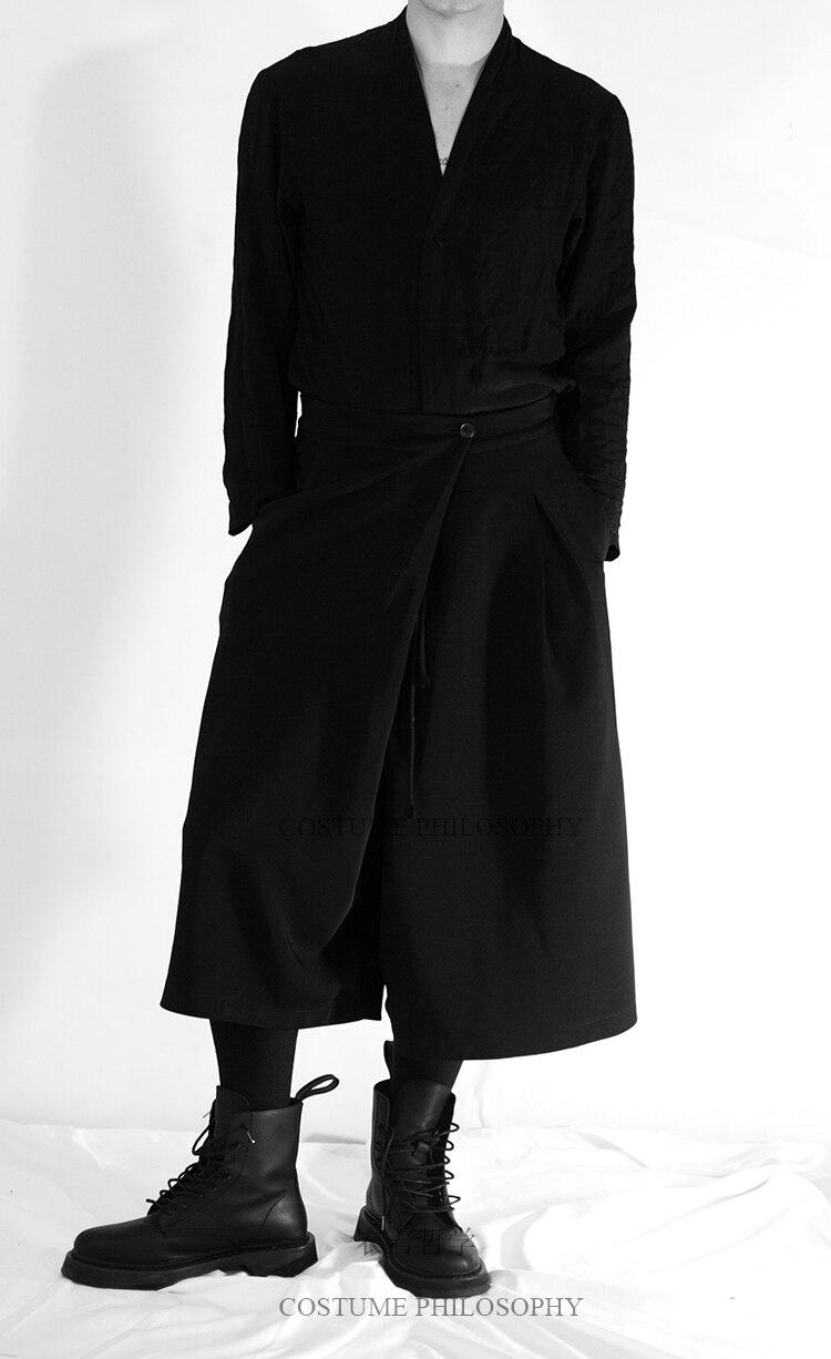 27-44 2019 Neue Männer Kleidung Der Haar Fashion Stylist Plus Größe Samurai Hosen Breite Bein Hosen Culottes Kostüme Gute WäRmeerhaltung