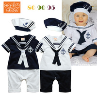 Free Shipping 2014 Summer Retail Navy Style Baby Romper Suit Kids Boys Girls Rompers Hat Body