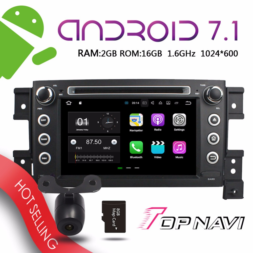 TOPNAVI 7 Android 7.1 Auto GPS Multimedia Players for Suzuki Vitara 2005-2011 Vehicle Audio Video Media Bluetooth Navigation
