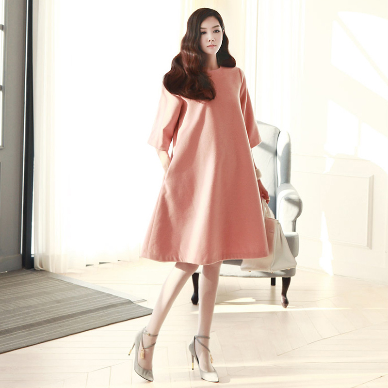 ФОТО South Korea Style Pregnancy Dress O-Neck Half Sleeve Shirt for Woman Maternity Fashion Cotton Casual Women's Clothing vestir
