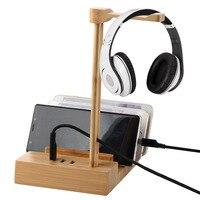Wooden Headphone Stand Holder Universal 3 Ports Of 3 0 Usb Hub Charging Gaming Headset Hanger