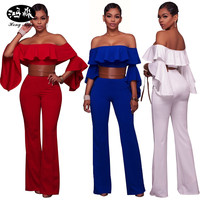 Vrouwen Bodysuits Sexy Rompertjes flouncing schede Off Schouder slash hals jumpsuits rood blauw wit Strapless jumpsuits 2017 vogue