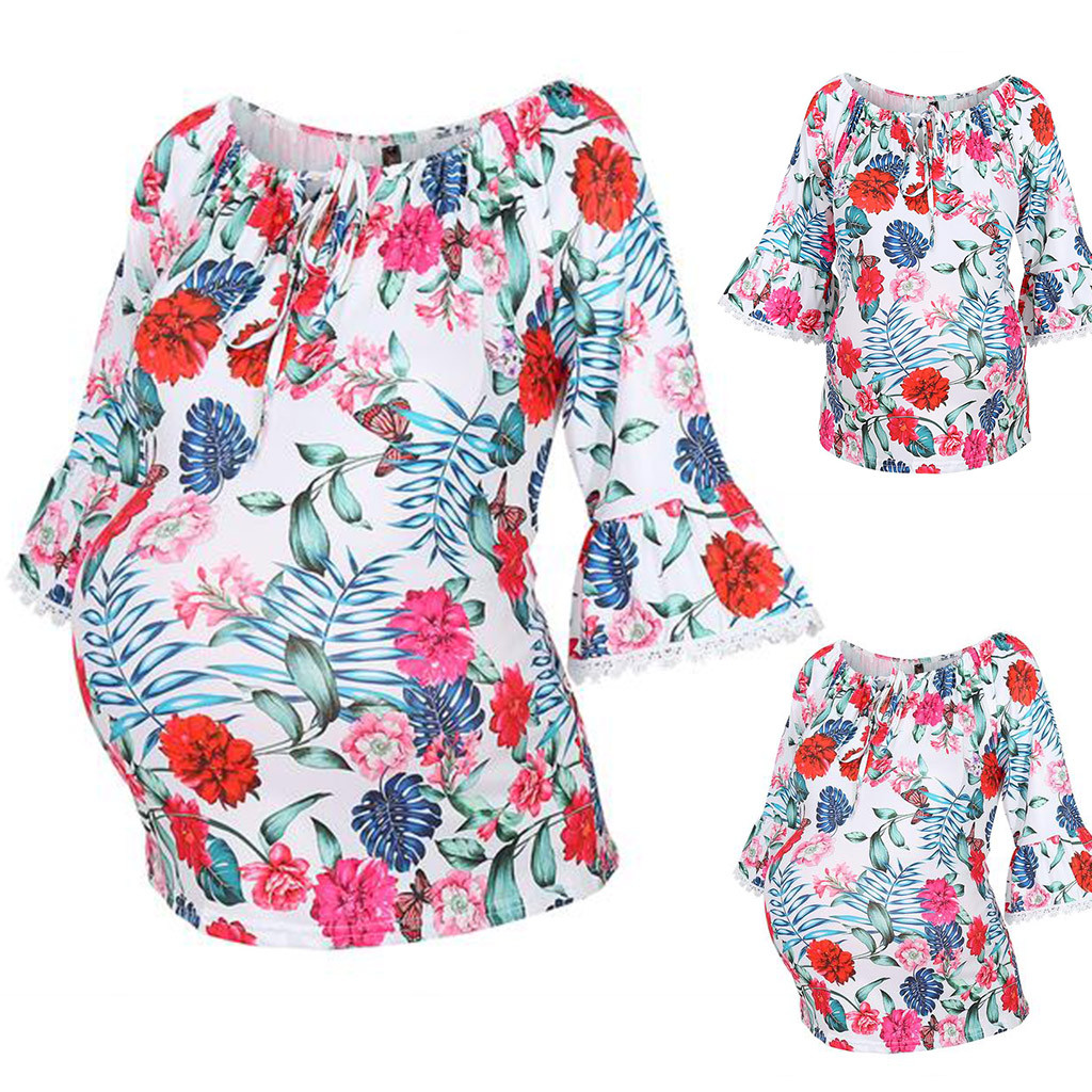 Maternity Cotton Clothes Women Short Sleeve Floral Printed Blouse Pregnancy Tops T-Shirt Props Premama Summer Fashion Clothes