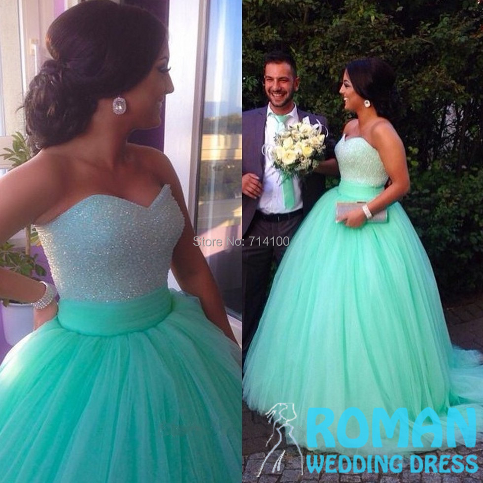 Lovely Corset Sequined Sweetheart Tulle Multi-layered Sweep Train Light Blue Ball Gown Prom Dresses 2015 Long - Sheepherder Store store