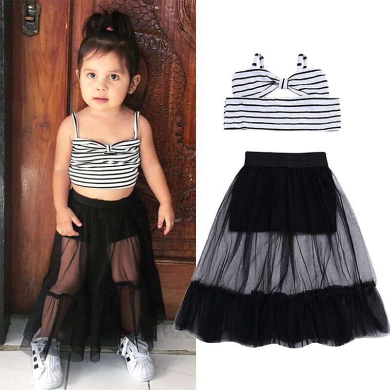 2Pcs Toddler Girls Stripe Outfit Off-Shoulder Tank Top + Tulle Skirt Dress Clothes Set Black