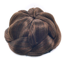 Gres Heat Resistant Fiber Blond/ Black/Brown Women Synthetic Hair Bun Clip-in Braided Flower Like Chignons for Brides/Party(China)