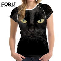 FORUDESIGNS Black Cool Pet Cat Pattern Women T Shirt Summer Soft Short Sleeve Casual T Shirt