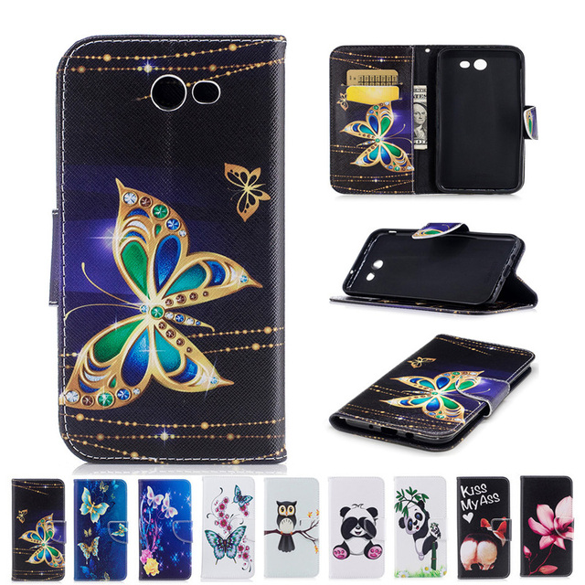 For Galaxy J7 Sky Pro TPU Case Flower Butterfly Panda Owl Pattern Wallet Leather Cover For