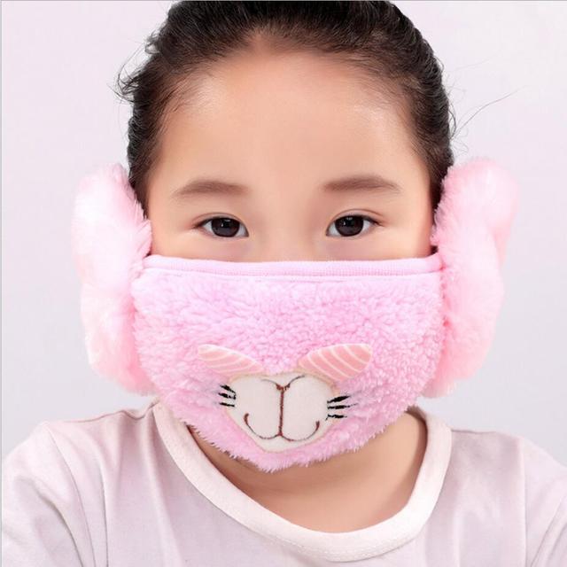 Cute rabbit Ear protective kids mouth mask Windproof earmuff anti dust winter masks Children Anti Haze Flu cotton Face masks 3