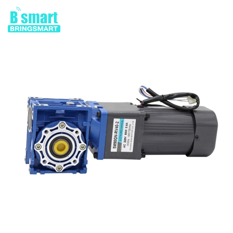 Bringsmart 220V AC motor 90W gear reducer motor RV worm gear motor speed  micro small motor slow speed