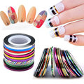 10 Rolls Striping Tape Line Nail Art Decoration Sticker DIY Nail Tips 1mm 2mm 3mm Metal Multicolor Mixed Silver Gold Stickers