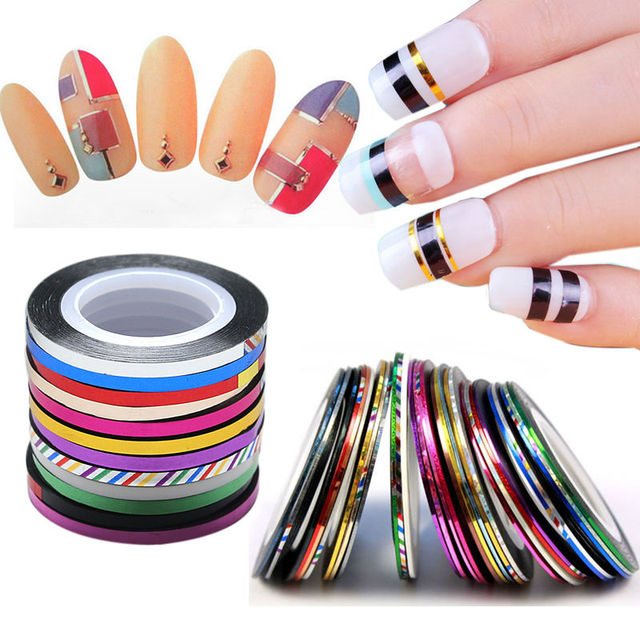 10 Rolls Striping Tape Line Nail Art Decoration Sticker Diy Tips 1mm 2mm 3mm Metal