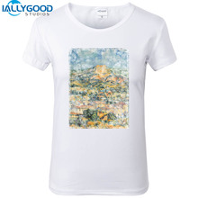 New Summer Fashion Abstract Landscape T-Shirts Women Funny White T-shirts Slim Short Sleeve Cotton Casual Women Tops S1103