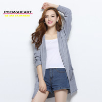 POEM HEART 2017 Spring Autumn V Neck Thicken Long Korean Women Cashmere Cardigan Wool Knitwear Long