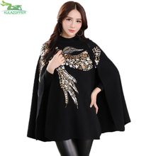 Модный женский свитер с рукавами летучая мышь, кашемировый плащ, пальто с птичьим узором, бисером и блестками, Shwal, свободное шерстяное Женское пальто Er56