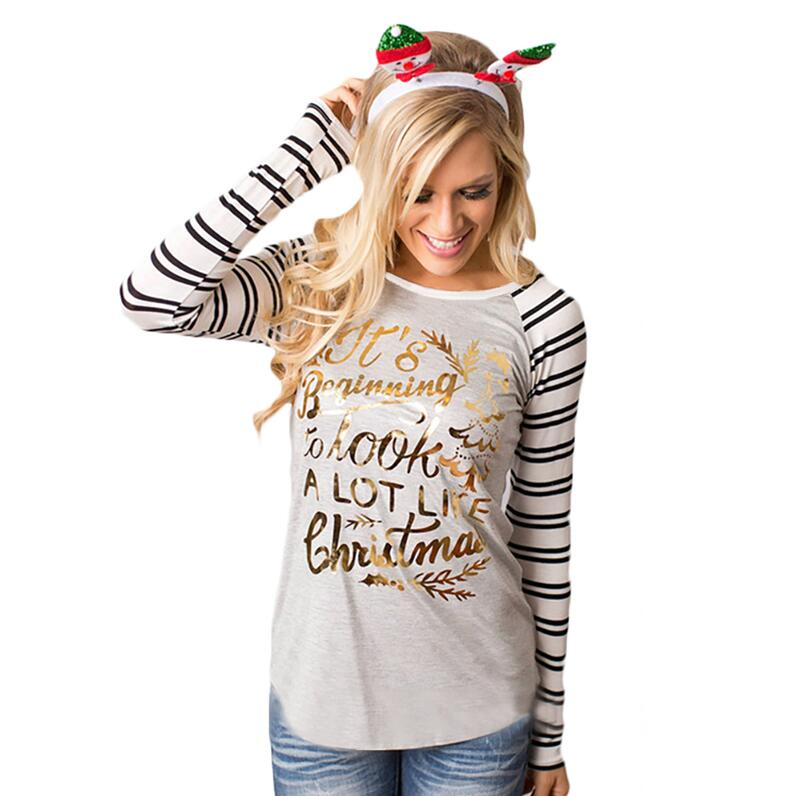 JOYINPARTY Christmas Clothes Autumn Chic Femme Ti Striped With Long Sleeve Gold Letters Printed T-Shirts Harajuk Hipster Shirts
