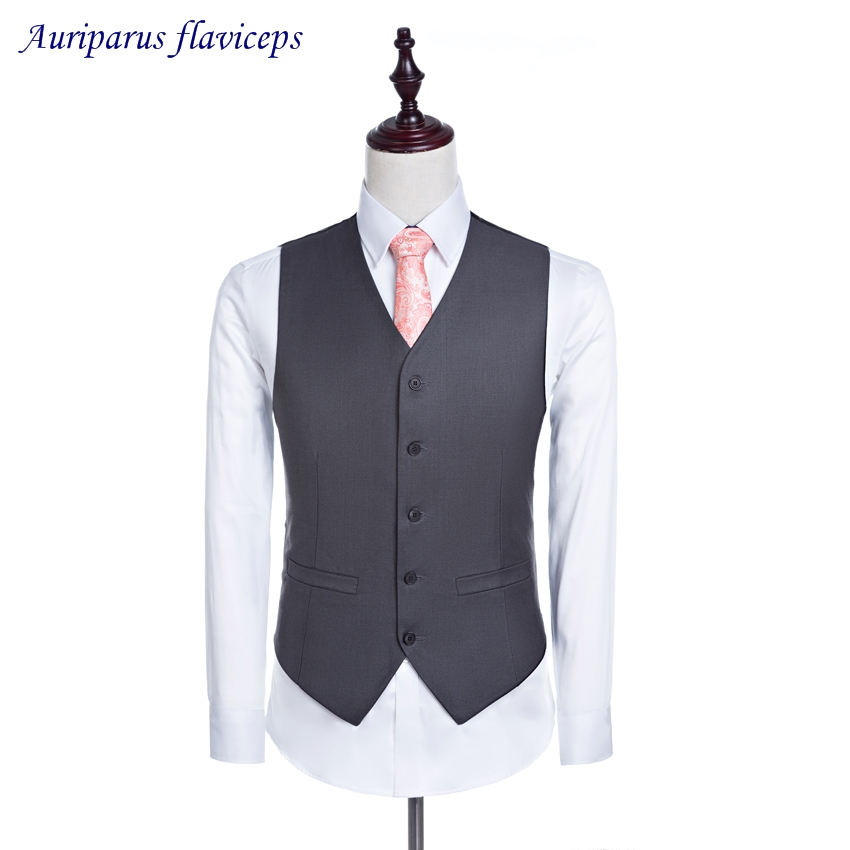Classic Style Gray Wedding Waistcoat Groomsman Suit 5 Buttons Groom Vest Business Suit Man Suit (pants+vest)