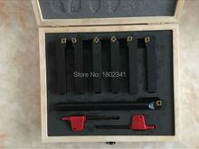 12mm 7 unids/set conjunto de herramientas de corte de inserción para la máquina DEL CNC de torno indexable, Tincoated, carburo de herramientas de torneado conjunto