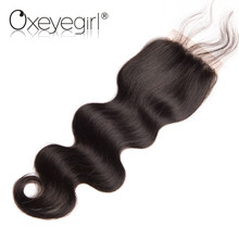 Oxeye girl Peruvian Body Wave Lace Closure With Baby Hair Free Part Remy Human Hair Closure 4″x4″ Midium Brown Swiss Lace 8″-22″