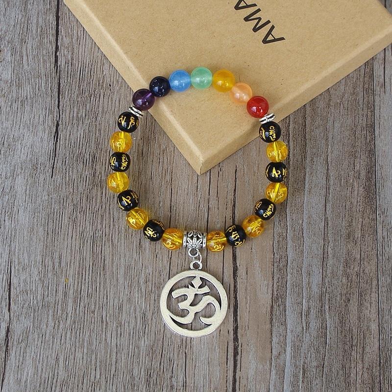 Handmade OM Mala Chakra Bracelet Buddha Six Words of Mantra Yoga Healing  Prayer Mala Charm Strand Bracelet Pulsera De Cuentas-in Charm Bracelets  from