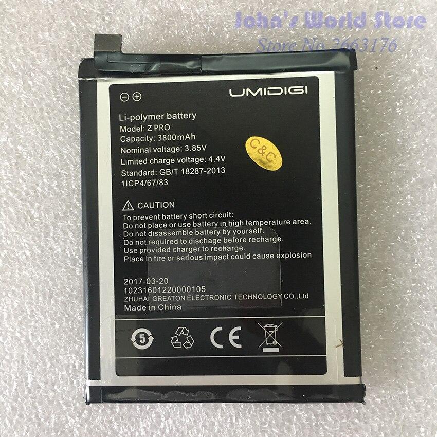 Umi Z Pro Battery UMIDIGI Z Pro High Quality Original Large Capacity 3800mAh Back Up For UMI Z Pro Smart Phone
