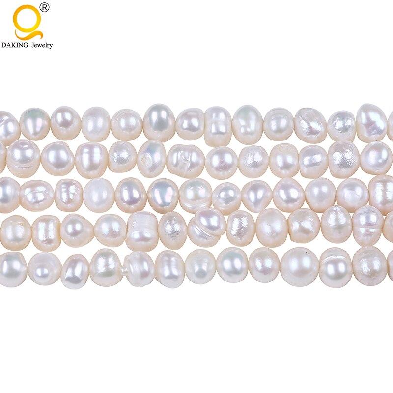 D Grade 6-7mm Potato freshwater Pearl string DIY Necklace Bracelet Jewelry Making Potato Shape Cultured Loose Beads Strand jewelry making