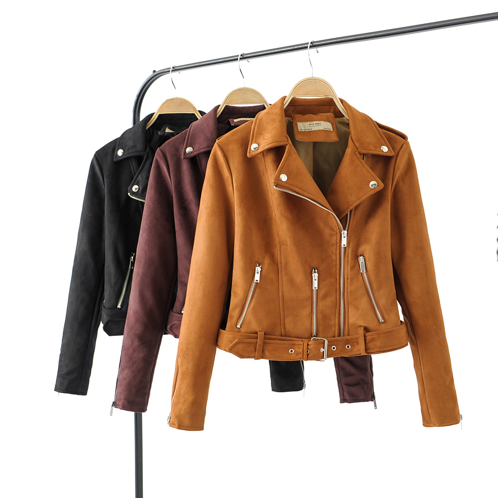 2019 New Fashion Auturm Winter Women Soft   Suede   Faux   Leather   Jackets Coats Lady Zipper Matte PU Motorcycle Black Streetwear Belt