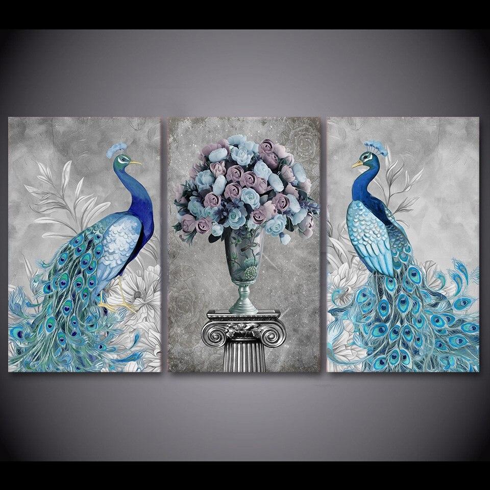 3 pièces HD imprimé paon Couple Animal photo mur Art toile impression décor affiche encadrée toile peinture à l'huile