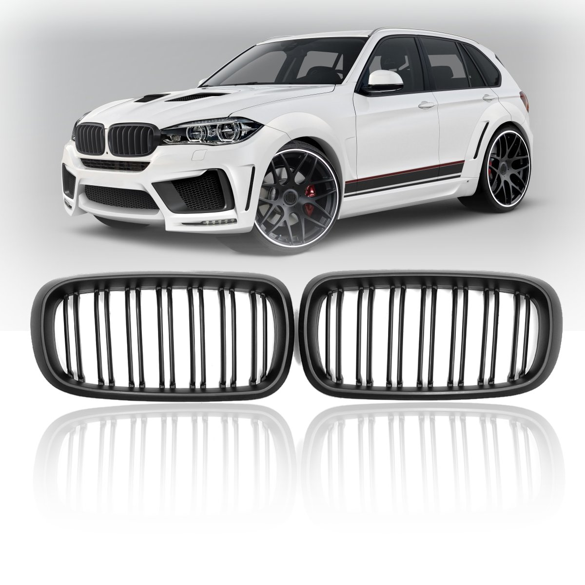 Pair New Matte Gloss Black Double 2 Slat Line Front Kidney Grill Grille Replacement For BMW F15/F16 X5 X6 2014 2015 2016 2017Pair New Matte Gloss Black Double 2 Slat Line Front Kidney Grill Grille Replacement For BMW F15/F16 X5 X6 2014 2015 2016 2017