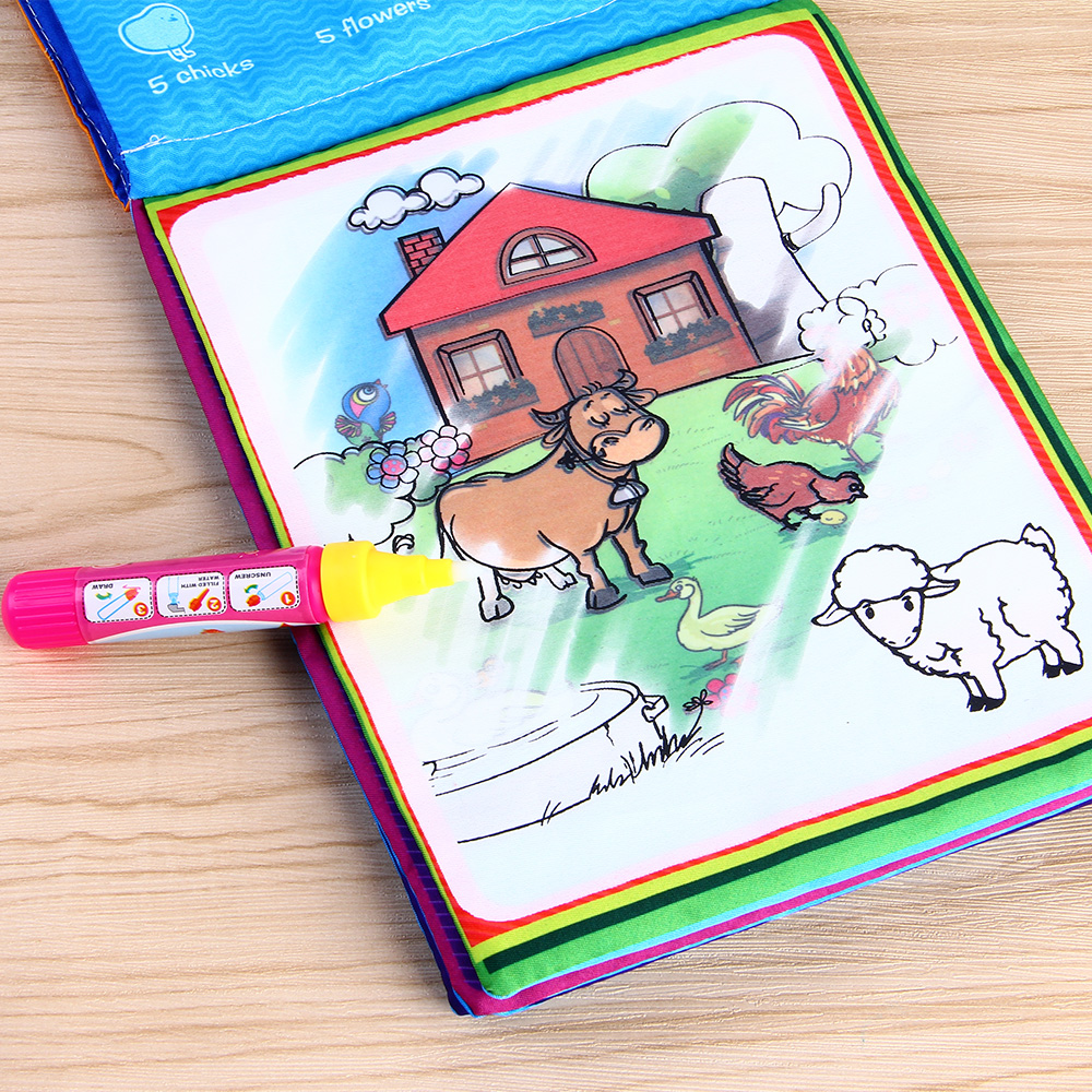 Coolplay Animals Water Drawing Book with 2 Magic Pen Reusable Coloring Cloth Book Drawing Toy Educational Gifts for Children цена