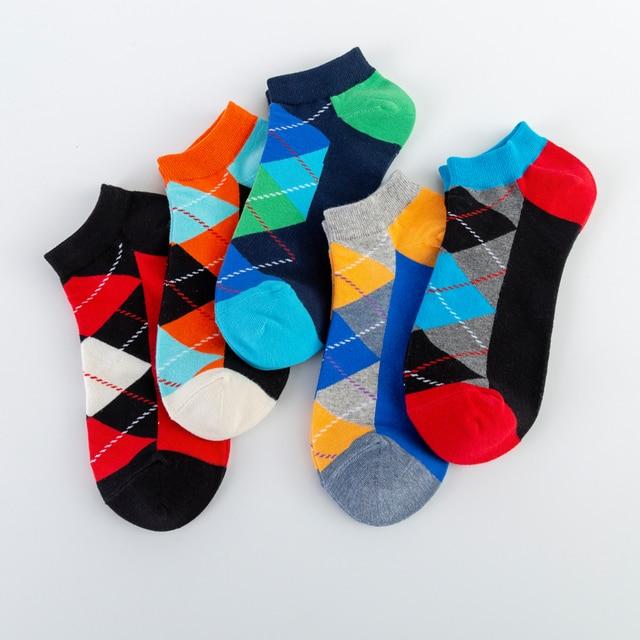 Men's Casual Novelty Colorful Summer Funny Ankle Socks Happy Combed Cotton Short Socks Diamond Dress Boat Socks 4