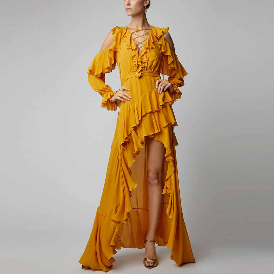 Новое поступление 2019, Осеннее женское модное сексуальное длинное платье с длинным рукавом и оборками, Стильное элегантное вечернее платье для женщин, платье с поясом