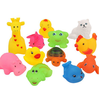 12Pcs/Set New Cute 12 Kinds Animals Child Kids Baby Bathing Shower Swimming Pool Toys Game