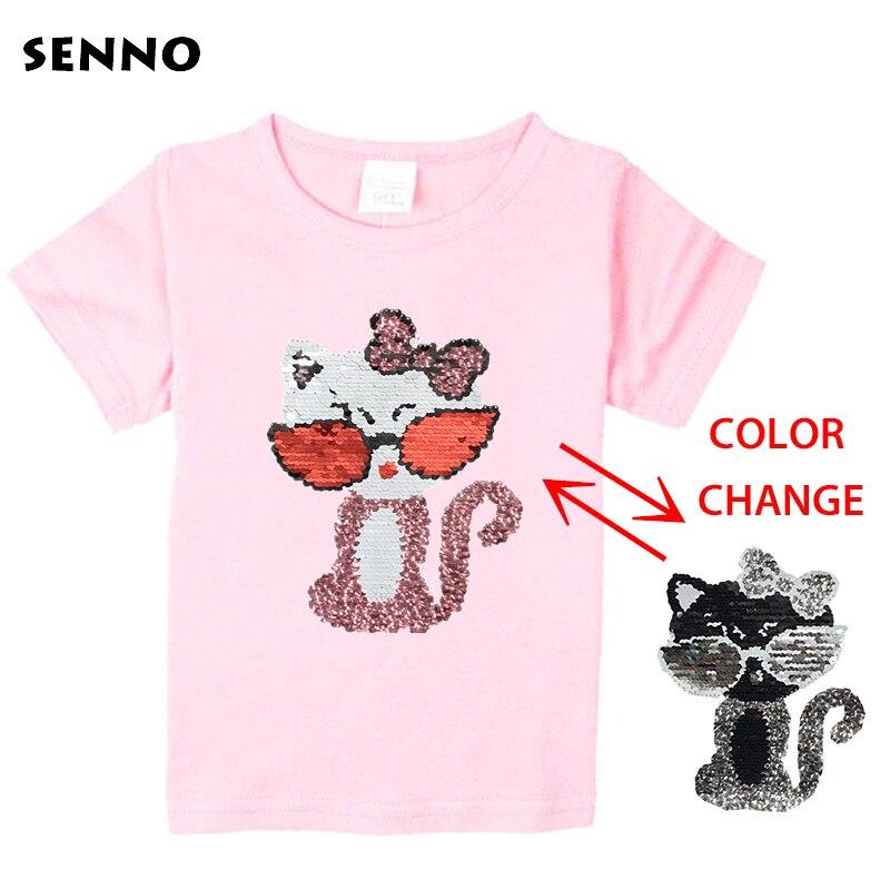 Festival pailletten top ändern farbe katze umschaltbar reversible pailletten mädchen T-shirts kid mode t shirt kinder tops kleidung