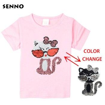 c919a118f Festival top de lentejuelas que cambia de color gato conmutable reversible  lentejuelas niñas camisetas chico de moda camisa niños tops ropa