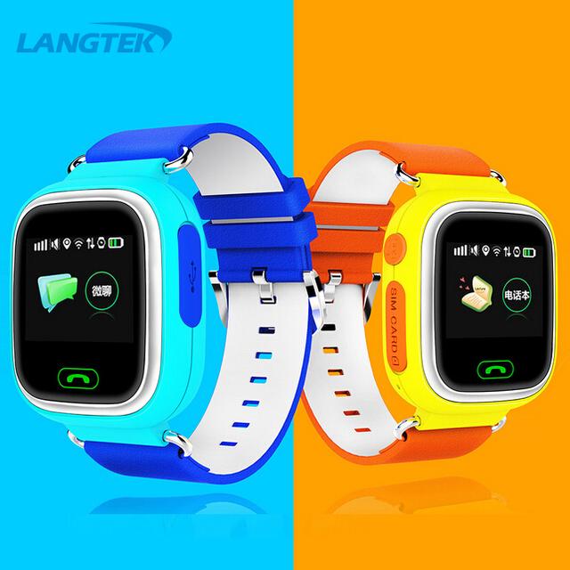 Langtek gps smart watch relógio bebê q90 com wifi tela sensível ao toque de chamada sos localização devicetracker para as crianças em segurança anti-lost monitor de