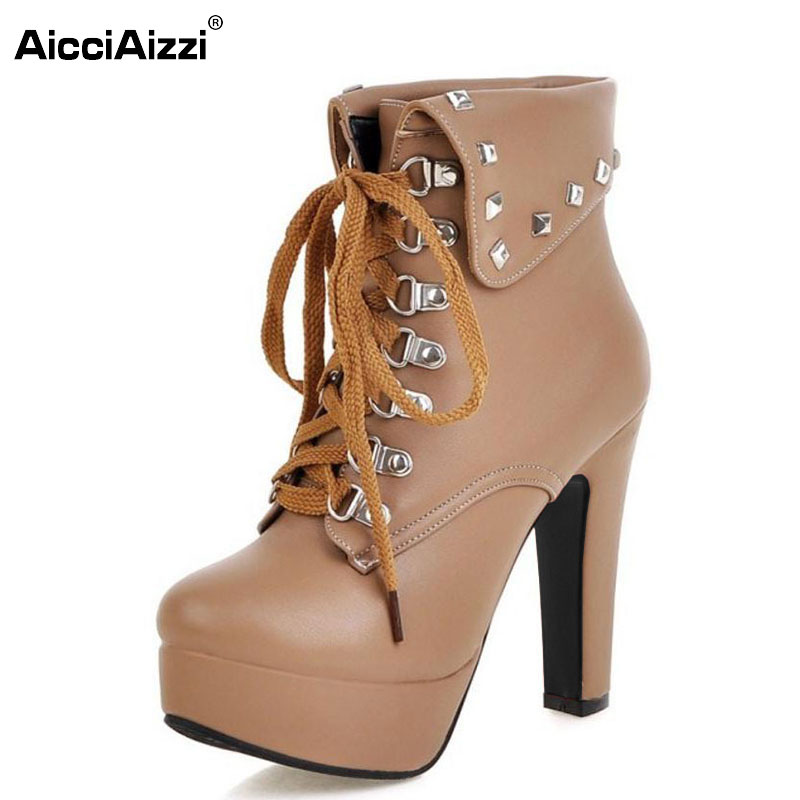 Women Ankle Boots Designer Fashion Platform Chunky High Heels Lace Up Short Booties Woman Autumn Winter Shoes Size 30-48 amazing designer booties patent leather patchwork ankle boots chinel high heels zipper autumn motorcycle boots for women pumps