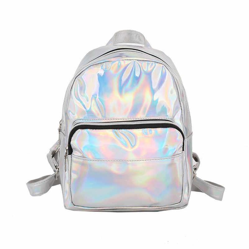 Женская школьная блестящая Лазерная Мини Путешествия студенческие милые женские кожаные рюкзаки с голограммами серебряный маленький голографический рюкзак