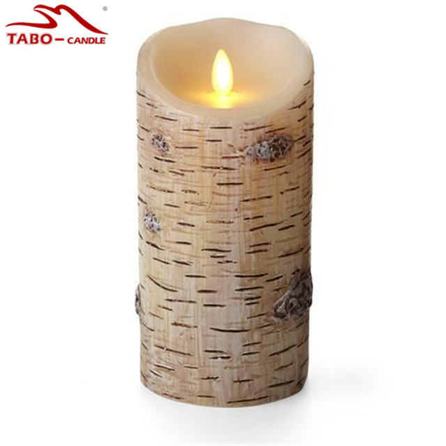 birch bark flameless moving wick led candle with battery operated with timer for wedding hotle bar