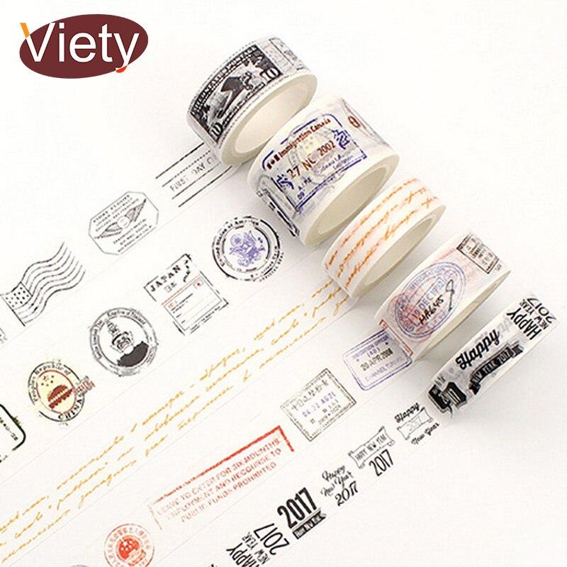 1.5/3cm*8m Vintage Postmark washi tape DIY decoration scrapbooking planner masking tape adhesive tape label sticker stationery 1 5cm 8m colorful flag washi tape diy decoration scrapbooking planner masking tape adhesive tape label sticker stationery
