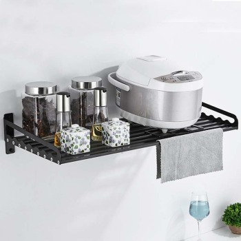 Space Aluminum Microwave Oven Bracket Wall Mounted Kitchen Rack Silver Black Kitchen Shelf Microwave Oven Rack Storage Wall F induction cooktop stainless steel kitchen rack floor multi layer storage rack microwave oven kitchenware storage shelf