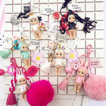 2019 Cute Angel Baby Keychain Cartoon Keyrings Pendant fit Bag Charms Purse Accessory Unicorn Key Chain Ring for Women Girl Gift cartoon key chain for accessory