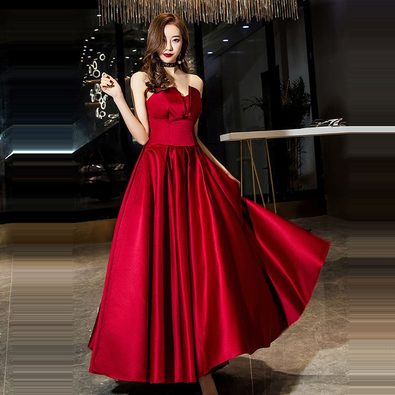 Evening Dress Burgundy Sleeveless Women Party Dresses Bow Robe De Soiree 2019 Long Plus Size Wrapped Chest Formal Gowns E677