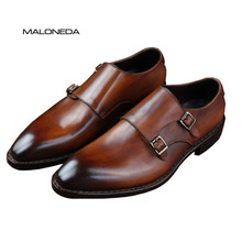 MALONEDA Goodyear Welted Classic Genuine Leather Double Buckles Handmade Formal Wedding Office Dress Shoes Monk Strap Footwear maloneda brand men s patent leather shoes custom made goodyear welted double monk straps shoes slip on dress shoes