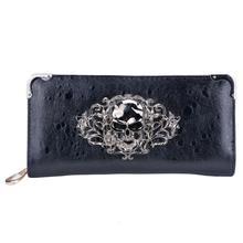 10pcs( ASDS Cool Retro Skull Wallet for Women Vintage Clutch Bag Black
