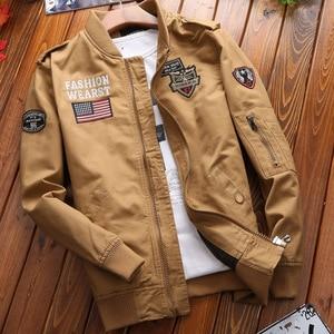Image 2 - Military Jacket Men Spring Autumn Mens Coat Casual Warm Bomber Jacket Men Cotton Baseball Uniform Jacket Zipper Coat Autumn