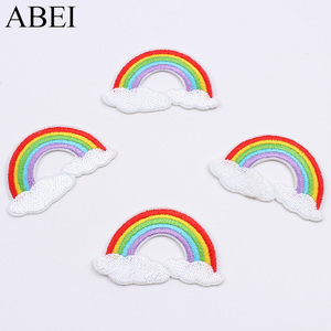 10pcs/lot Embroidered Rainbow Cloudy Patches Iron On Fabric Stickers Sewing Garments Accessories DIY Patchwork Jeans Socks Badge(China)