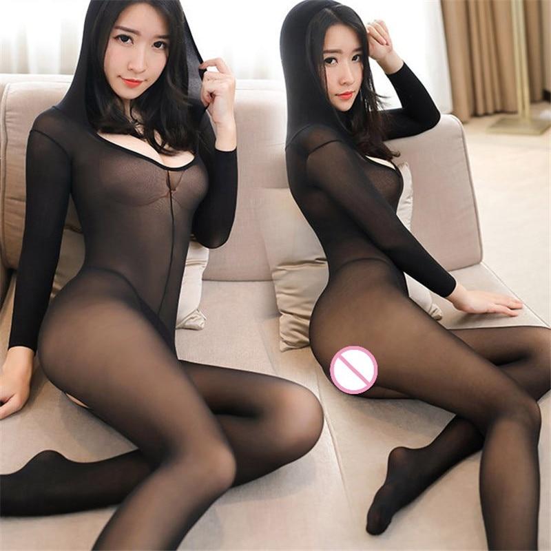Прозрачные черные прозрачные с открытым шаговым швом, с капюшоном, сексуальные колготки, нижнее белье для женщин, соблазнительные нейлоновые колготки